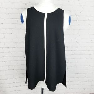Madewell|Black & White Crepe Canal Tank Top